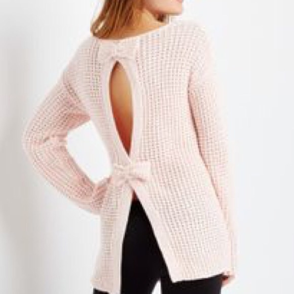 Aeropostale Sweaters - BETHANY MOTA PINK OPEN BACK BOW SWEATER a49c9be25